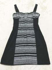 H&M黒白ニットタイトミニワンピドレスバックセクシー