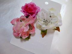 髪飾りH&M白ピンクお花3個コサージュ新品浴衣着物イベント小花