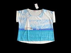 新品 Sorridere しまむら 海 グラフィック Tシャツ 青 L