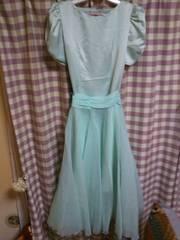 ★オシャレデザイン ドレス パーティー  イベントに! フリフリ レース グリーン系色●