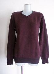 未使用◆Vネック 薄手 セーター カットソー トップス ボルドー 男性M
