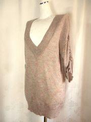 【Re】【未使用品】グレイッシュピンクのロングセーター