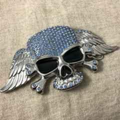 スカルのバックル★大型ドクロのベルトバックル★髑髏ブルー骸骨