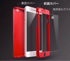 赤iPhone6/6sケース 全面保護フルカバー 人気 ガラスフィルム付