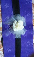 送込〓浴衣帯〓飾り(前飾り)白いバラ