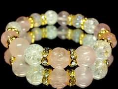 薔薇彫りローズクォーツ§ローズクォーツ§クラック水晶金ロンデル10ミリ数珠 15.5