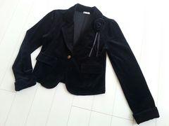 【送料無料/美品/即決】コサージュ付きジャケット♪ベロア素材♪卒業式★
