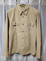 フィグベル 長袖 ワークシャツ Sサイズ14 ユーズド加工 無地 ベージュ 茶 ミリタリー