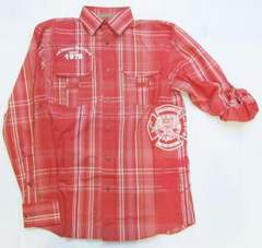 AL90)PELLE PELLEチェック柄デザインシャツ長袖(512CD7)赤