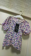 新品タグ付き80★キッズベイビー花柄パフスリーブ半袖Tシャツ