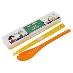 【スヌーピー】可愛い日本製♪18cm箸&スプーン&ケースセット