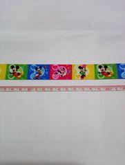 約23mm巾【カラフル】ディズニーキャラクター柄リボン1M