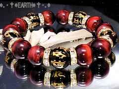 天然石★12ミリ金彫守梵字黒瑪瑙AAA赤虎目数珠