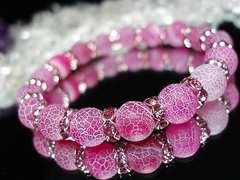 フロストサクラ色ドラゴンアゲート約10ミリピンクロンデル数珠