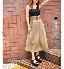 新品 GRL ベルト付きラップデザインフレアスカート グレイル