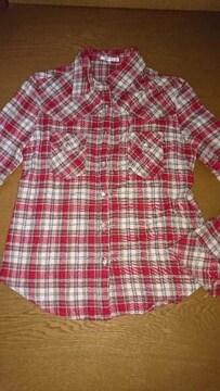 激安出品☆赤チェックシャツ☆M☆
