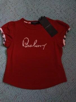 新品 Burberry 女の子100Aサイズ パフスリーブ Tシャツレッド