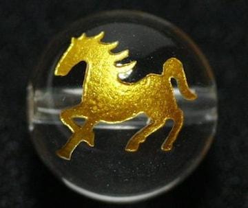 ☆金色ビーズ☆馬彫り☆水晶12mm@1粒
