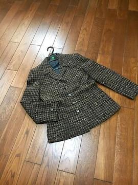 【美品】日本製◆ブラウンツイード◆上質テーラードジャケット