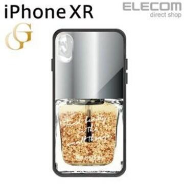 ★ELECOM iPhoneXRケースガラスケースコスメティック ゴールド