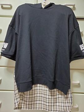 大きいサイズ☆新品☆3L☆バクプリ☆五分袖☆パーカー☆黒☆
