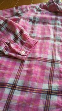 ユニクロ UNIQLO 150�p 女の子 長袖 薄手 ピンク シャツ 美品 チェック