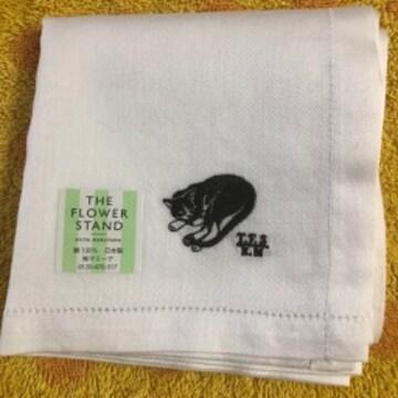 ケイタマルヤマ ハンカチ 白 猫刺繍