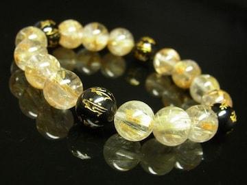 十二支梵字オニキス タイチンルチルブレスレット 10ミリ数珠 金運上昇