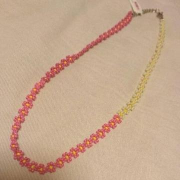 インド製 お花モチーフ編みビーズネックレス 新品未使用