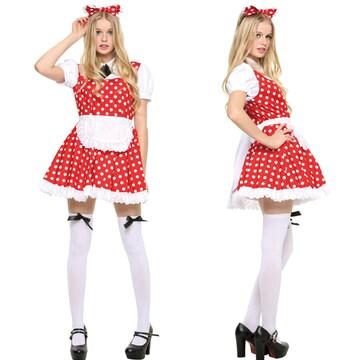ハロウィン コスプレ 衣装 仮装 大人 女性 ディズニー ミニー風 メイド服