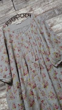 ◆◆SM2◆◆ フラワー柄 リネンワンピース 未使用 pinkred