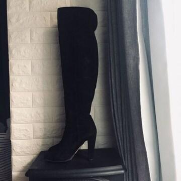 ジミーチュウ 18万 ニーハイ スエード ブーツ ブラック