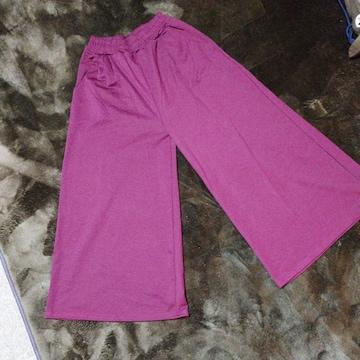 新同超ワイド裾42cm!ワイドパンツ暖か裏起毛ワインレッド