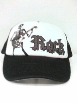 新品◆ロック◆メッシュキャップ◆スカルギター◆黒/白◆