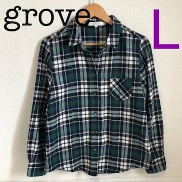 #groveチェックネルシャツL