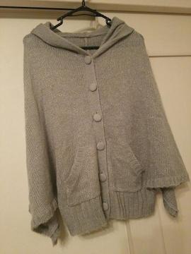 ハニードロップMグレーニットポンチョケープジャケットコート