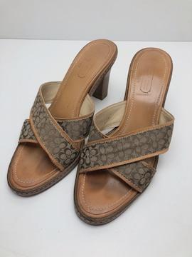 X089 ★ コーチ サンダル ミュール ヒール 7 1/2 B 靴