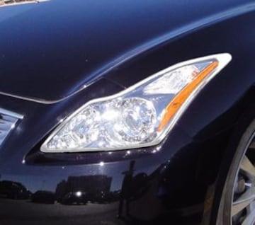 日産 メッキヘッドライトリング スカイライン V36 クーペ