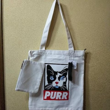 PURR★新品★ミニポーチ付猫ZIPトートバッグ