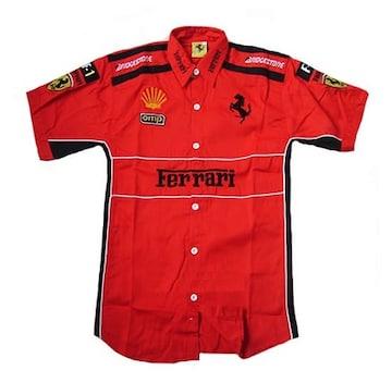 1セール! フェラーリ ロゴ  シャツ L f177