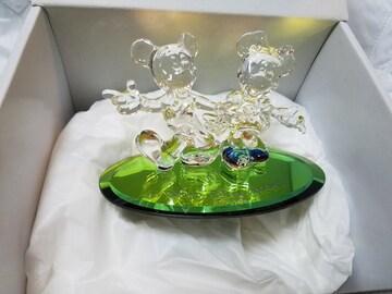ディズニー ミキミニ Mickey&Minnie クリスタルガラス 置物