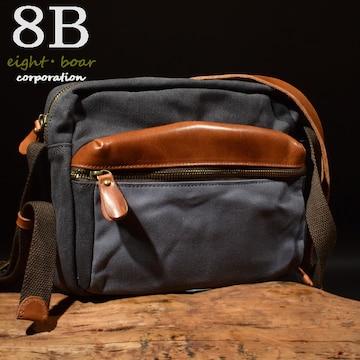 ◆牛本革×加工頒布 ミリタリー調 ショルダーバッグ◆青灰k35