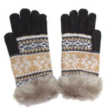 スマホ手袋★北欧★ノルディック♪雪の結晶柄★GRAY◆新品タグ付