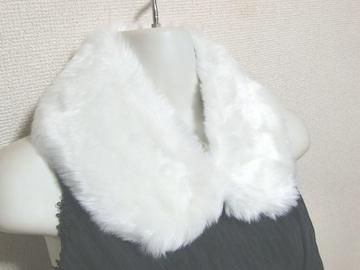 新品 ファーティペット 襟 ホワイト 白 フェイクファー