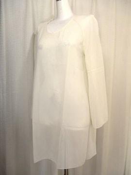 【madame hanai】オフホワイトのシフォンロングブラウス