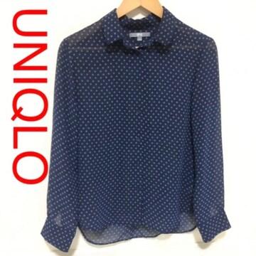 UNIQLO ドットシフォンブラウス 透け感シャツ