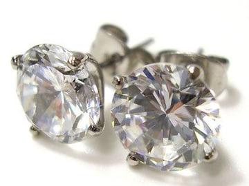 幅0.8cm1粒大粒CZダイヤモンドステンレスピアス