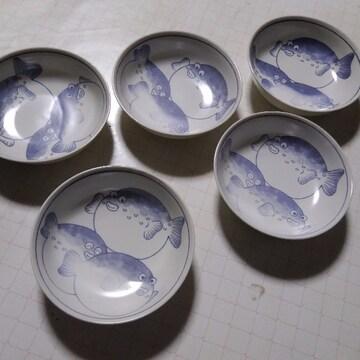 14×14×5ふぐの絵柄皿5枚未使用箱をよごれありゆうパック60