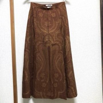 美品 Aquascutum アクアスキュータム ペイズリー柄 ロングスカート 9号