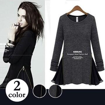 裾フレアー ワンピース/ブラック/黒/グレイ/灰色/ドレス/~XL